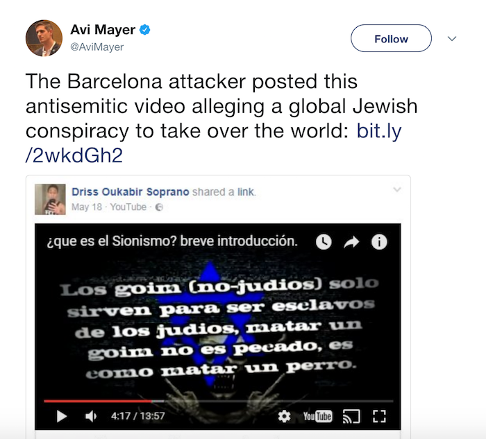 Barcelona jihad murderer posted Jew-hating video on Facebook