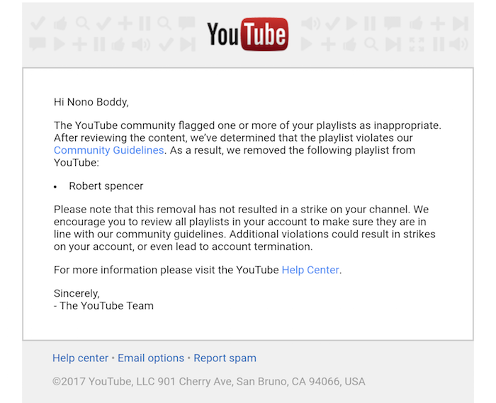 """YouTube removes """"Robert Spencer"""" playlist as """"inappropriate"""""""