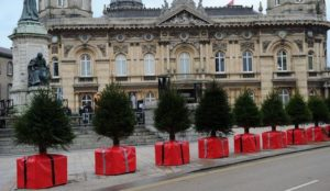 UK city protects shoppers from vehicular jihad massacres with anti-terror bollards disguised as Christmas trees