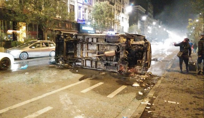 Belgium: Muslims riot, burn cars, injure 22 police officers in celebrations over soccer victory