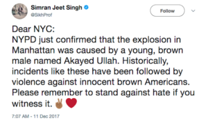 """In wake of NY Port Authority jihad bombing, Sikh prof warns of """"violence against innocent brown Americans"""""""
