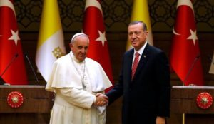 Turkey's Erdogan to meet with Pope, thank him for opposing Trump's recognition of Jerusalem as Israel's capital