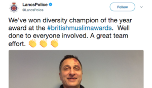 "UK: Lancashire Police win ""diversity champion of the year"" award at the British Muslim Awards"