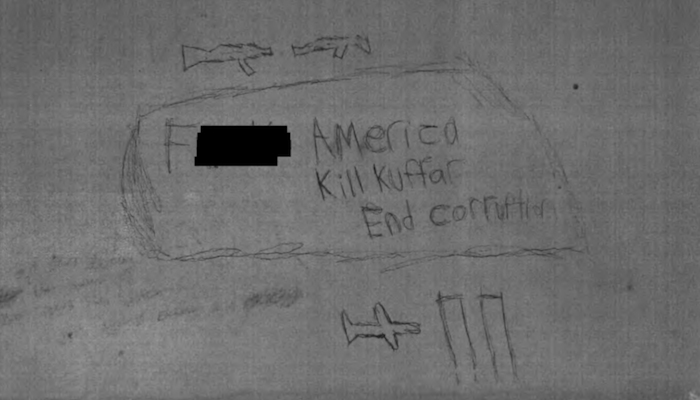 "Parents of Muslim who plotted jihad massacre in NYC ask for mercy for him as he scrawls ""kill kuffar"" on cell wall"