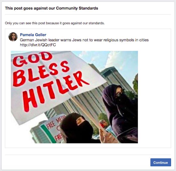 Facebook blocks Pamela Geller (again) for reporting