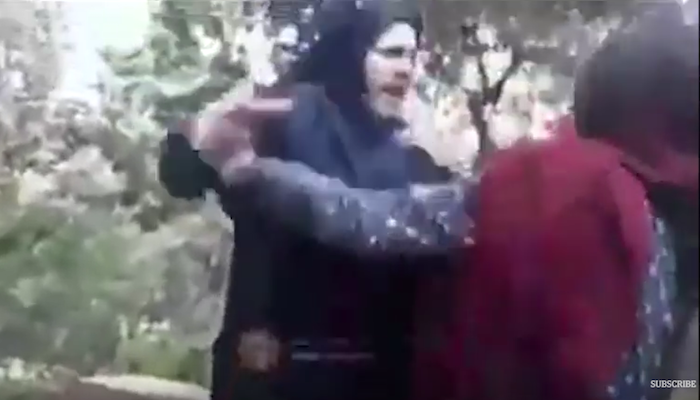 """Video from Islamic Republic of Iran: """"Morality police"""" officer wrestles woman to ground because her hijab was loose"""