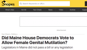 """""""Fact checker"""" Snopes gets facts wrong again, falsely claims that Maine House didn't allow female genital mutilation"""