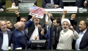 """Iran: Lawmakers burn US flag in Parliament while screaming """"Death to America!"""""""