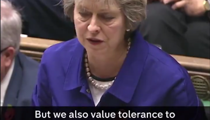 """Theresa May announces the end of free speech in UK: """"We value free speech…we also value tolerance to others"""""""