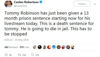 Arrested, tried, and sentenced within an hour: Tommy Robinson gets 13 months for livestreaming outside courthouse