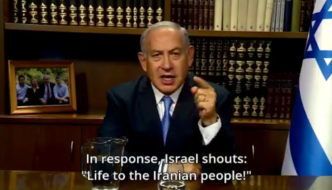 "Netanyahu: ""The Iranian regime shouts, 'Death to Israel.' In response, Israel shouts, 'Life to the Iranian people.'"""