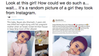 """Palestinian"" ""journalist"" takes random baby photo from Instagram, claims baby was killed by Israel"