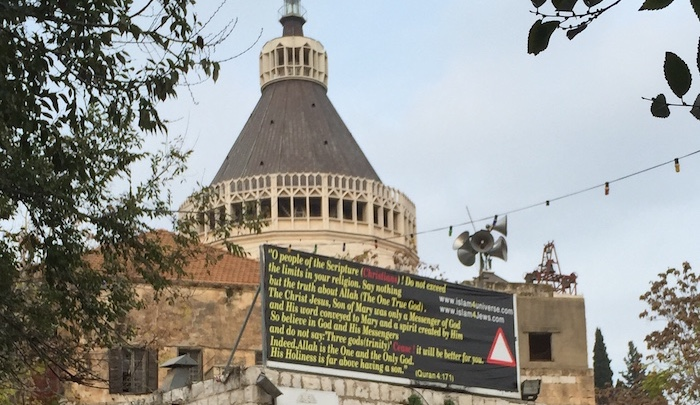 Nazareth: Signs outside Church of the Annunciation feature anti-Christian Qur'an verses