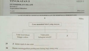 Malaysia: Islamic Studies exam asks students about permissible ways to beat a disobedient wife