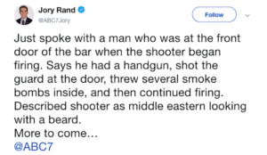 """California: Gunman murders 12 at dance bar, is """"Middle Eastern looking with a beard"""" UPDATE: """"White man"""""""