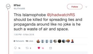 Twitter user writes that Robert Spencer should be killed, Twitter leaves threat online
