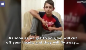 Muslim boy, 11, waves knife, says Allah created me to lift up high the banner of Allah with the help of blood