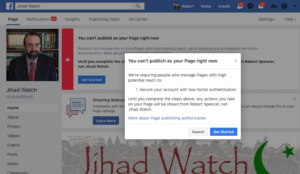 More Left-fascism: Facebook again blocks Jihad Watch page