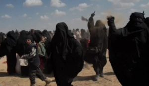 "Islamic State Muslimas throw stones at reporter, ""we're the woman of the Islamic State, Allahu akbar, Allahu akbar"""
