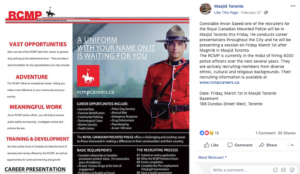 Royal Canadian Mounted Police recruit at mosque where imam prayed for killing of non-Muslims