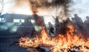 Denmark: Muslims riot, attack police with missiles, burn garbage cans and bikes because man throws Qur'an in the air