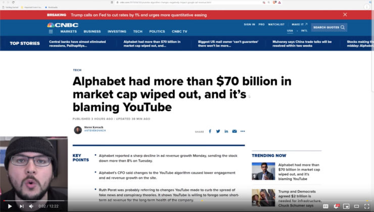 Alphabet (Google/Youtube) does what it's told and loses $70