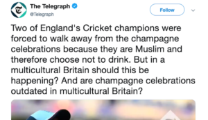 UK: Telegraph asks if champagne celebrations should be ended in order to accommodate Muslims