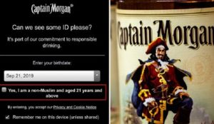 Captain Morgan rum website asks visitors to confirm they are non-Muslim