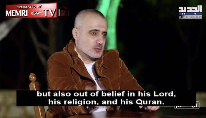 Lebanese singer hopes Hizballah top dog will let him blow himself up 'out of belief in his religion and his Quran'
