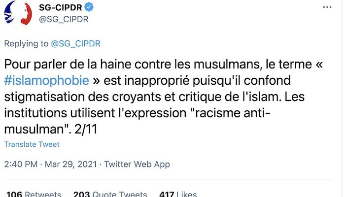 French government: Term 'Islamophobia' inappropriate, 'confuses stigmatization of believers with criticism of Islam'